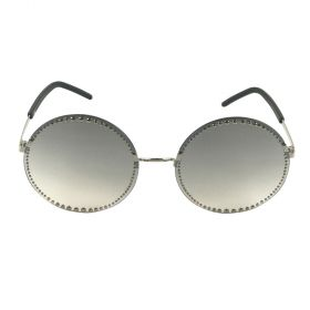 Eight - Studded Round Silver & Grey Gradient Mirror Sunglasses