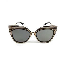 Eight - Browline Cateye Silver Mirror & Striped Crystal Grey/Gold Sunglasses