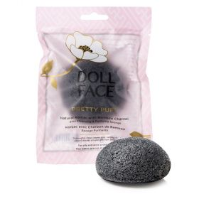 Doll Face Pretty Puff Natural Konjac With Bamboo Charcoal Skin Cleansing And Exfoliating Sponge