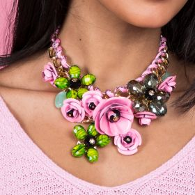 Pink Iron, Plastic & Beads Necklace