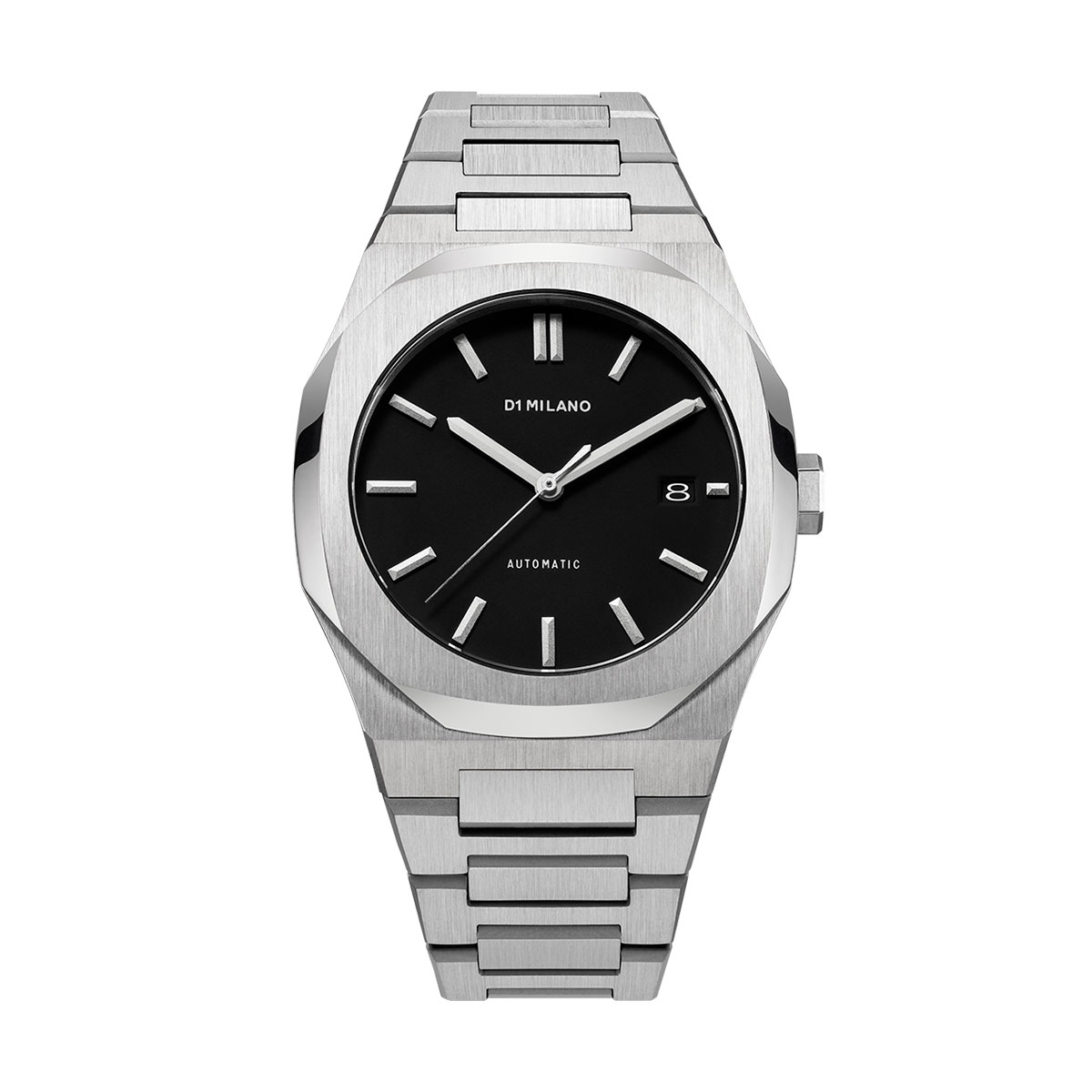 Automatic Stainless Steel Silver & Black Watch