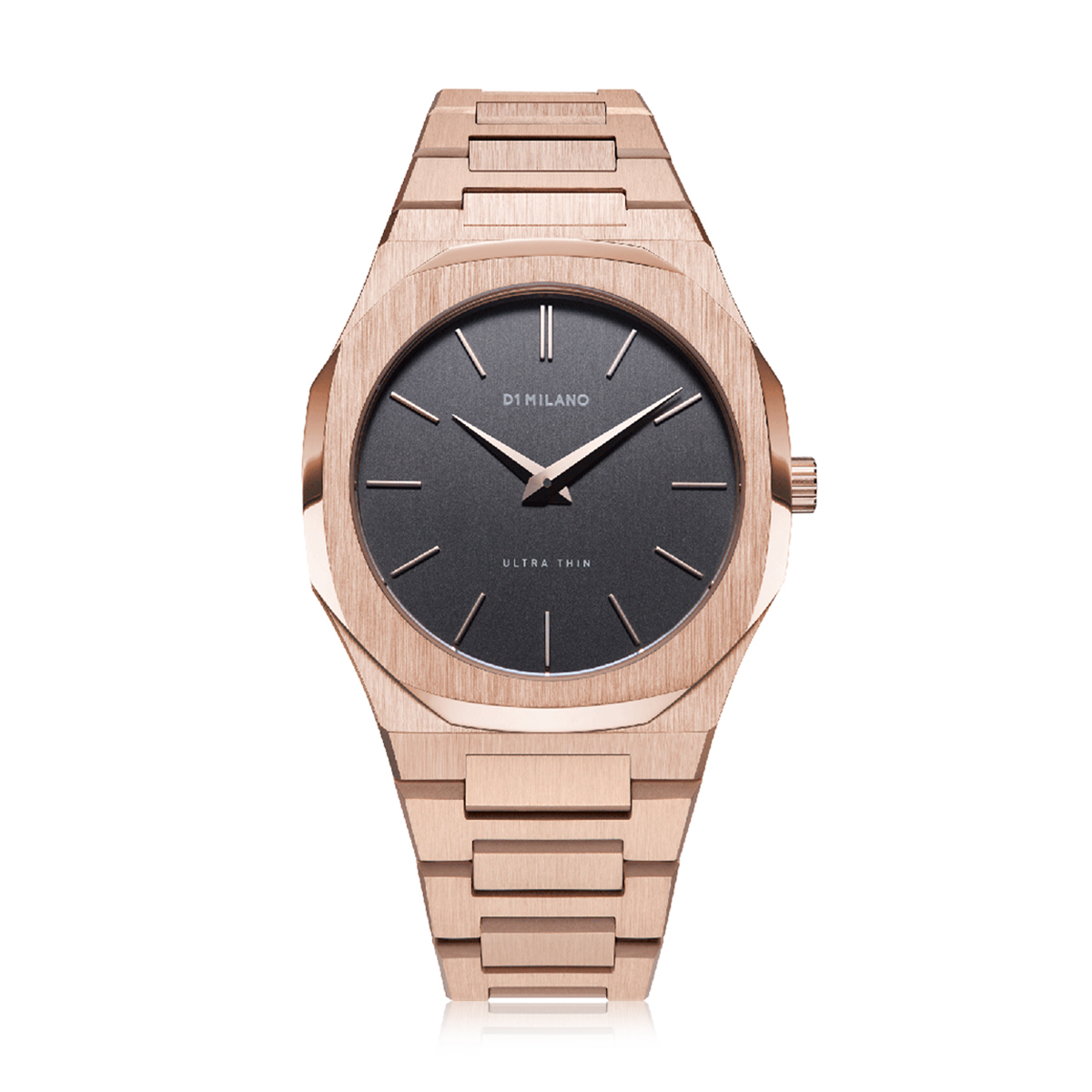 Fence Quartz Stainless Steel Rose Gold & Grey Watch