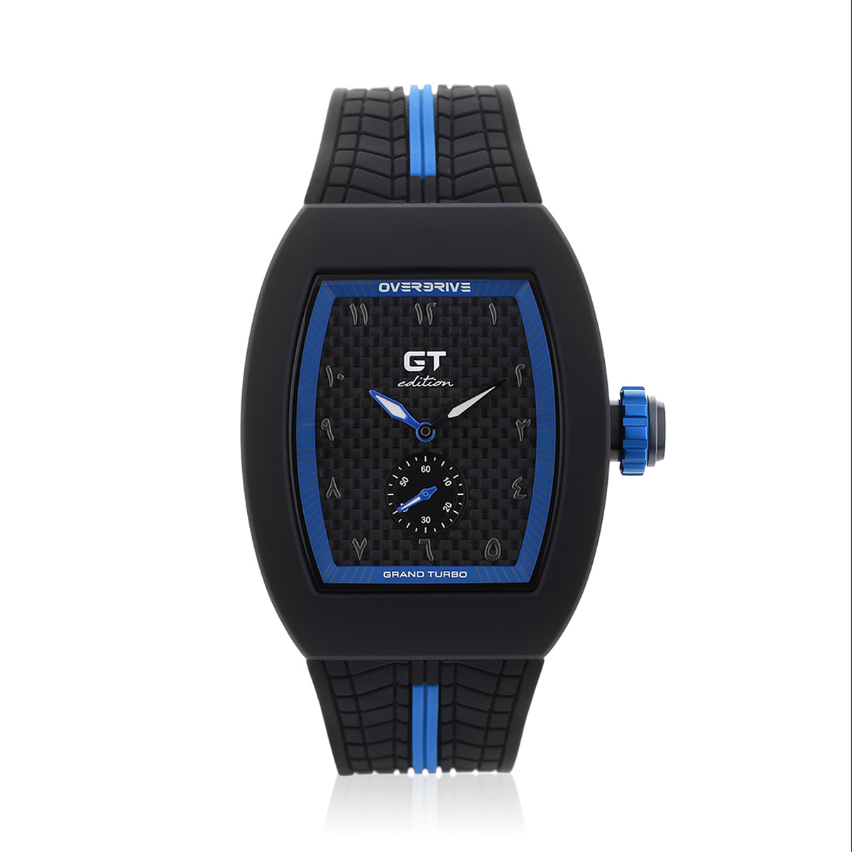GT Edition Black & Blue Sports Watch With Arabic Markers