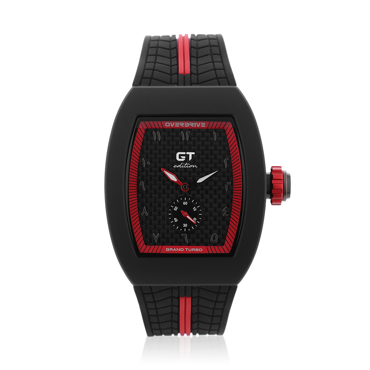 GT Edition Black & Red Sports Watch With Arabic Markers