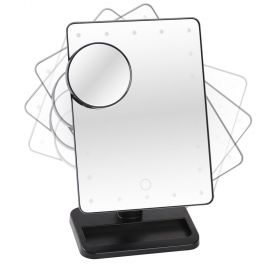 Beverly Hills Beauty Solution - 360° Rotatable LED Cosmetic Mirror - Black