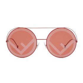 Fendi - Round Coral Red & Red Sunglasses