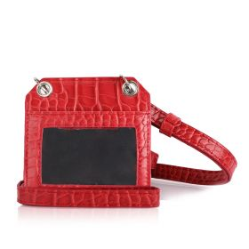Chili Red Leather Card Holder With Strap