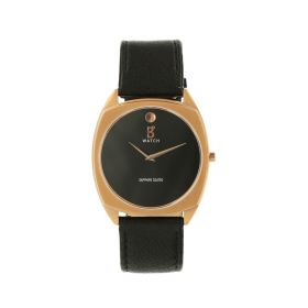 Black & Rosegold Leather Watch - Casual - Unisex
