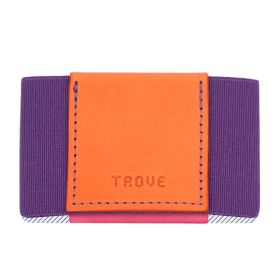 Elastic Leather Wallet For Women - Orange/Purple