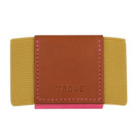 Elastic Leather Wallet For Women - Tan/Gold