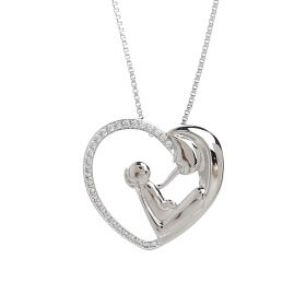 Venus - Rhodium Plated Necklace with a heart Pendant