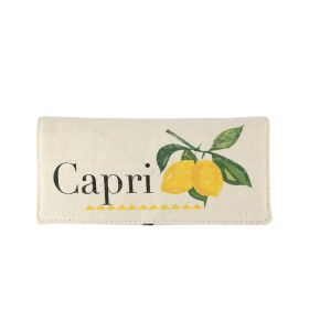 Capri Folding Jewelry Canvas Pouch - Beige