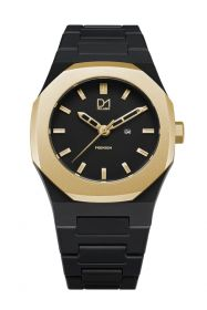 Premium Watch Black with Gold Bezel- Unisex