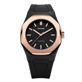 Premium Watch Black with Rose Gold Bezel - Unisex