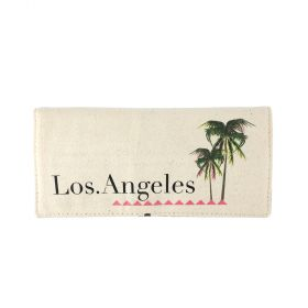 Los Angeles Folding Jewelry Canvas Pouch - Beige