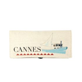 Cannes Folding Jewelry Canvas Pouch - Beige