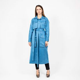 Long Jacket with Belt and Four Pockets - Blue