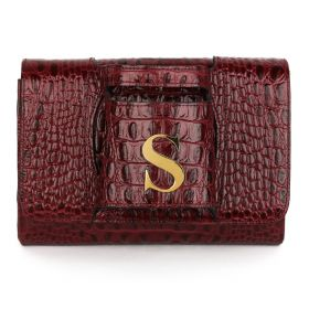 Sac Studio - Haidi Casual Burgundy Leather Clutch Bag with a Gold Plated Letter S
