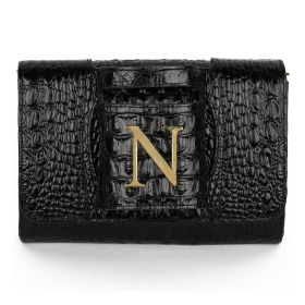 Sac Studio - Haidi Casual Black Leather Clutch Bag with a Gold Plated Letter N