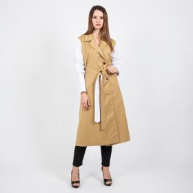 Trench Coat Dress- White/Beige- Free Size