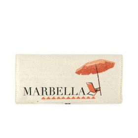 Marbella Folding Jewelry Canvas Pouch - Beige