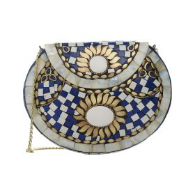 Thorns_GCC - Clutch With Golden Strap - Blue and White