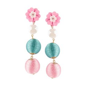 Baby Pink/Blue Plastic & Cotton Earrings