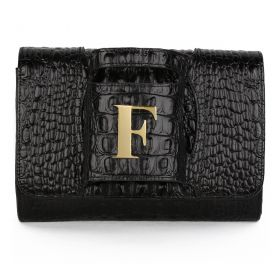 Sac Studio - Haidi Casual Black Leather Clutch Bag with a Gold Plated Letter F