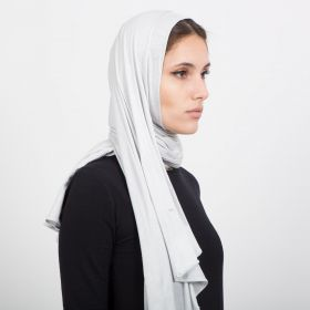 Grey Double Stretch Cotton Hijab With Pearls On The Side