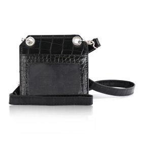 Onyx Black Leather Card Holder With Strap