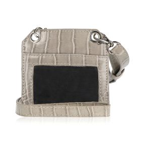 Cloudy Grey Leather Card Holder With Strap