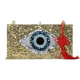 S Bottega - Glitter Gold Eye Clutch