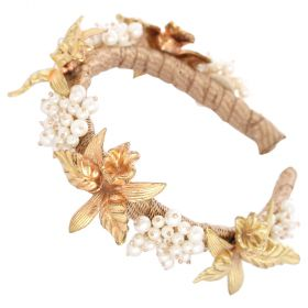 La.vang - Hairband with Golden Flower with Pearls