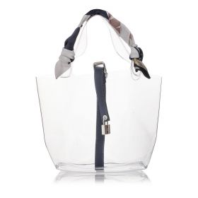 Transparent Mini Tote Bag with Navy Leather Handle