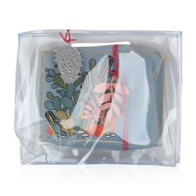 Women Transparent bag with Blue Cactus Pouch