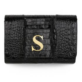 Sac Studio - Haidi Casual Black Leather Clutch Bag with a Gold Plated Letter S