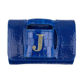 Haidi - Casual Blue Leather Clutch Bag - with a Gold Plated Letter J