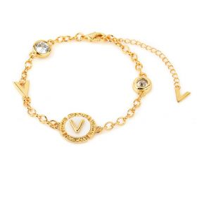 """V"" Letter Bracelet 18K Gold Plated and Mother of Pearl with Austrian Crystals"