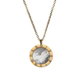 Double Face Mother of Pearl Pendant - Necklace 18K Gold Plated