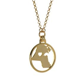 Kuwait Map Pendant and Hollow Heart Necklace 18K Gold Plated
