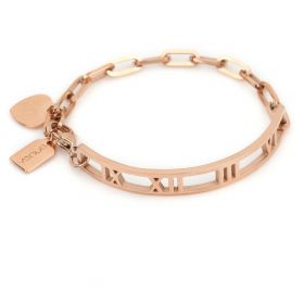 Hearts and Roman Letters Bracelet 18K Rose Gold Plated