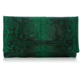 QuirkyBlings - Aicha Clutch - Emerald Motif Envelope Clutch with Front Slide Through Handle