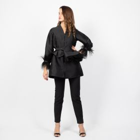 Black Jacket with Feather65 - Black