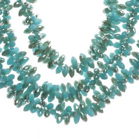 Haneen Boutique - 3 Layer Women Necklace - Blue With Silver Crystal Stones