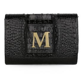 Sac Studio - Haidi Casual Black Leather Clutch Bag with a Gold Plated Letter M