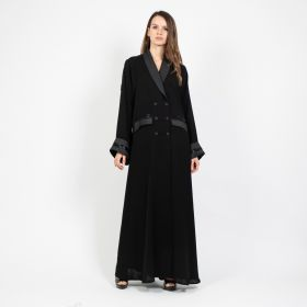 Abaya  Black Blazer with Beads on Pocket and Sleeve - Black