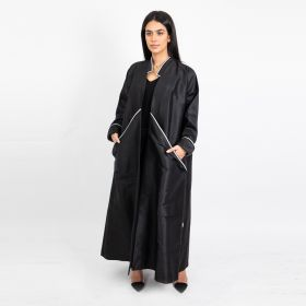 Abaya  Sport Chic with White Ribbon - Black