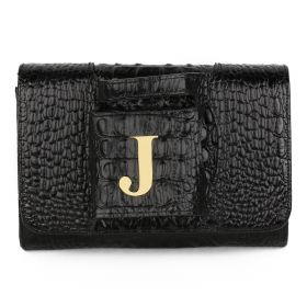 Sac Studio - Haidi Casual Black Leather Clutch Bag with a Gold Plated Letter J