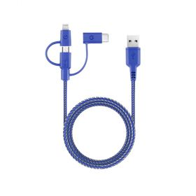 Energea - NyloTough 3-in-1 microUSB + Lightning MFI +USB-C  Charge & Sync Cable -1.5M BLUE