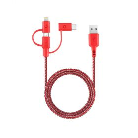 Energea -NyloTough 3-in-1 microUSB + Lightning MFI +USB-C  Charge & Sync Cable - 1.5M RED